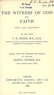 Cover of: The witness of God and faith