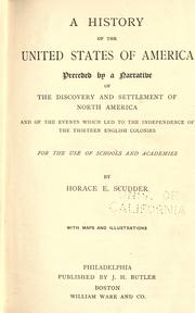 Cover of: A history of the United States of America: with an introduction narrating the discovery and settlement of North America