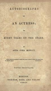 Cover of: Autobiography of an actress