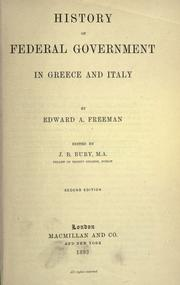 Cover of: History of federal government in Greece and Italy
