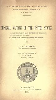 Cover of: Mineral waters of the United States
