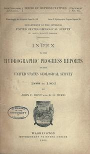 Cover of: Index to the hydrographic progress reports of the United States Geological survey, 1888 to 1903