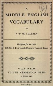 Cover of: A Middle English vocabulary: Designed for use with Sisam's Fourteenth century verse and prose.