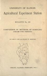 Cover of: Comparison of methods of sampling cream for testing