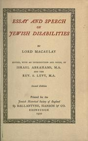 Cover of: Essay and speech on Jewish disabilities