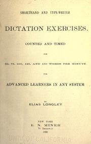 Cover of: Shorthand and type-writer dictation exercises