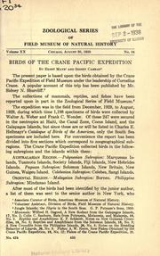 Cover of: Birds of the Crane Pacific expedition