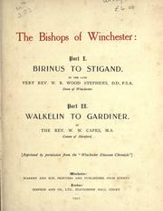 Cover of: The bishops of Winchester: part I, Birinus to Stigand