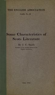 Cover of: Some characteristics of Scots literature