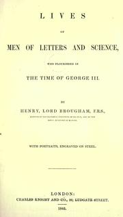 Cover of: The lives of men of letters and science