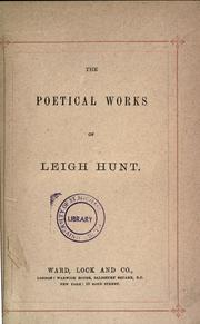 Cover of: Poetical works of L. Hunt