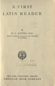 Cover of: A first Latin reader by Herbert Chester Nutting