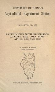 Cover of: Experiments with repellents against the corn root-aphis, 1905 and 1906