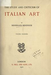 Cover of: The study and criticism of Italian art
