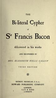 Cover of: The bi-literal cypher of Sir Francis Bacon
