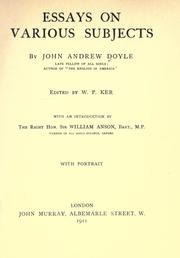 Cover of: Essays on various subjects by John Andrew Doyle