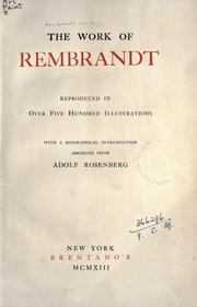 Cover of: The Work of Rembrandt