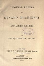 Cover of: Original papers on dynamo machinery and allied subjects