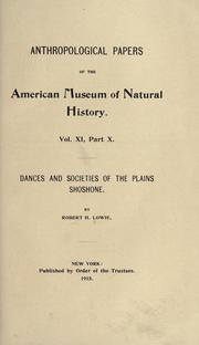 Cover of: Dances and societies of the Plains Shoshone