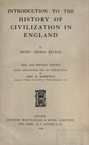 Cover of: Introduction to the history of civilization in England