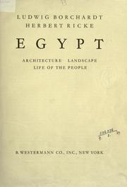 Cover of: Egypt: architecture, landscape, life of the people
