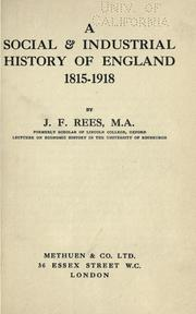 Cover of: A social & industrial history of England, 1815-1918