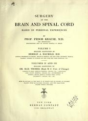 Cover of: Surgery of the brain and spinal cord based on personal experiences
