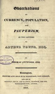 Cover of: Observations on currency, population, and pauperism