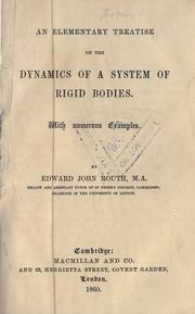 Cover of: An elementary treatise on the dynamics of a system of rigid bodies