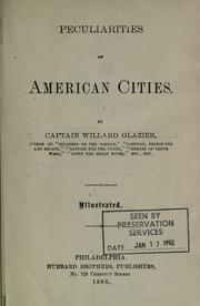 Cover of: Peculiarities of American cities