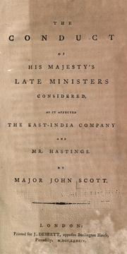 Cover of: The conduct of His Majesty's late ministers considered, as it affected the East-India Company and Mr. Hastings