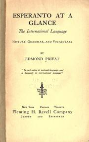 Cover of: Esperanto at a glance, the international language | Edmond Privat