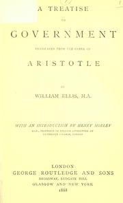 Cover of: A treatise on government | Aristotle