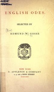 English odes by Edmund Gosse