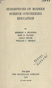 Cover of: Suggestions of modern science concerning education
