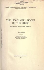 Cover of: The hemolymph nodes of the sheep