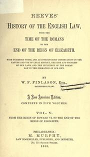 Cover of: History of the English law, from the time of the Romans, to the end of the reign of Elizabeth