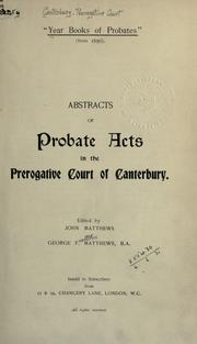 "Cover of: ""Year Books of Probates"" (from 1630)"