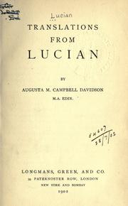 Cover of: Translations from Lucian