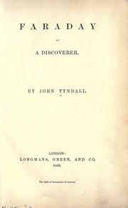 Cover of: Faraday as a discoverer