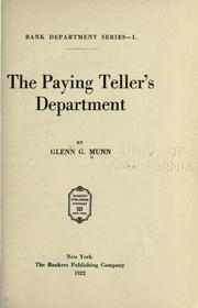 Cover of: The paying teller's department