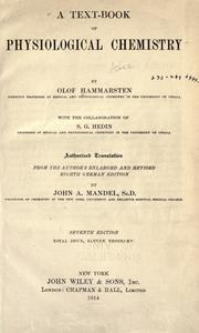 A text-book of physiological chemistry by Hammarsten, Olof