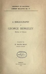 Cover of: A bibliography of George Berkeley, bishop of Cloyne