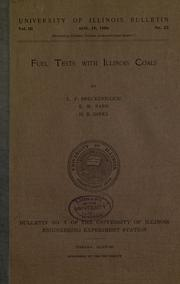 Cover of: Fuel tests with Illinois coals
