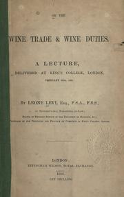 Cover of: On the wine trade & wine duties