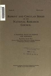 Cover of: A national focus of science and research