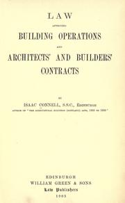 Cover of: Law affecting building operations and architects