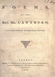Cover of: Poems, by the Rev. Mr. Cawthorn, late master of Tunbridge School