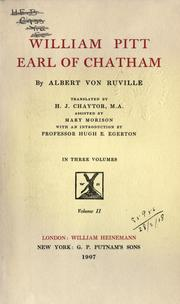 Cover of: William Pitt, earl of Chatham