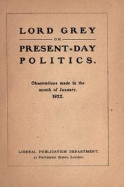 Cover of: Lord Grey on present-day politics
